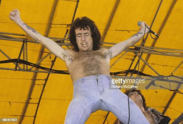Bon Scott of AC/DC performs live at The Oakland Coliseum in 1978 in Oakland California