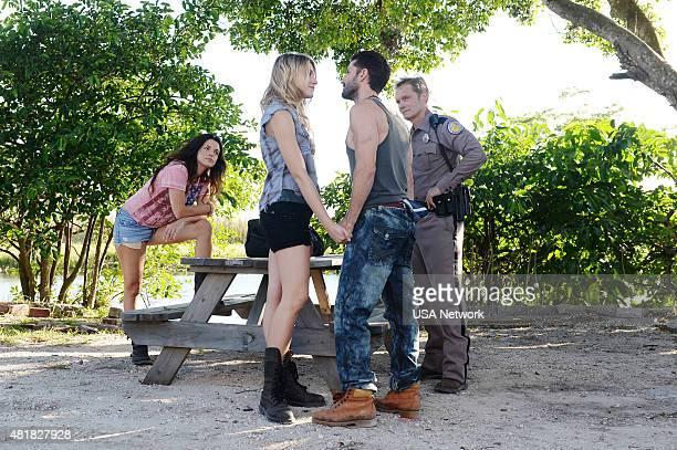 GRACELAND 'Bon Voyage' Episode 307 Pictured Vanessa Ferlito as Charlie DeMarco Brit Morgan as Amber Adam Thayer as Rodney 'Reggie' Windgate Tom...