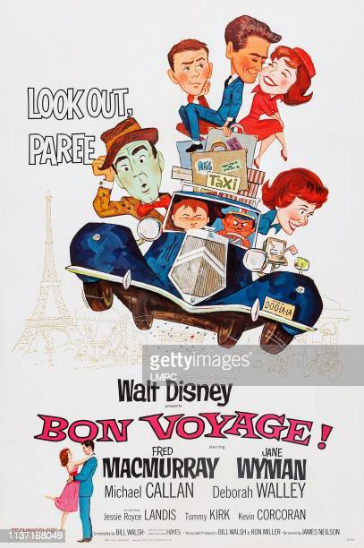 Bon Voyage poster Fred MacMurray top from left Tommy Kirk Michael Callan Deborah Walley Jane Wyman 1962