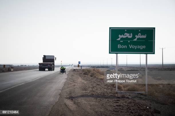 'Bon Voyage' sign by the road in Central Iran