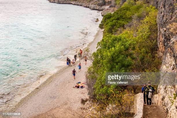 ボネール、1000ステップダイビングサイトとビーチ - カリブ海オランダ領 ストックフォトと画像
