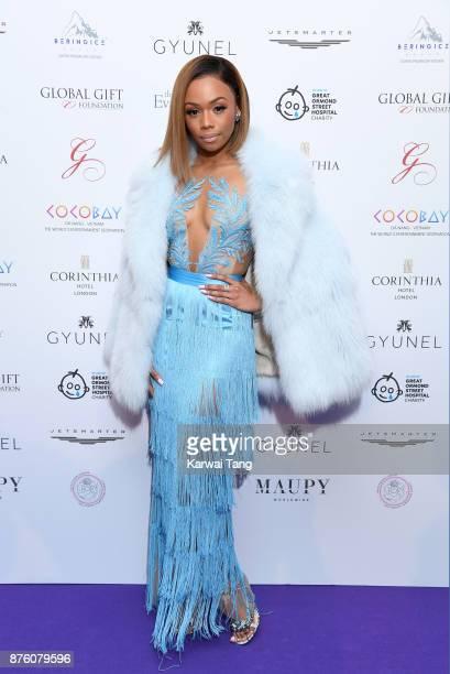 Bonang Matheba attends The Global Gift gala held at the Corinthia Hotel on November 18 2017 in London England