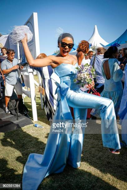 Bonang Matheba during the 157th LOrmarins Queens Plate Festival on January 06 2018 in Cape Town South Africa Celebrities strutted in SkyBlue attire...