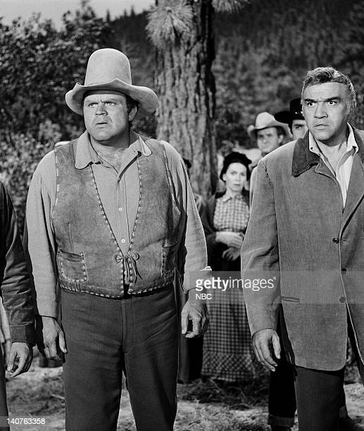 Bonanza Day of Reckoning Episode 7 Pictured Dan Blocker as Eric 'Hoss' Cartwright and Lorne Greene as Ben Cartwright Photo by NBC/NBCU Photo Bank