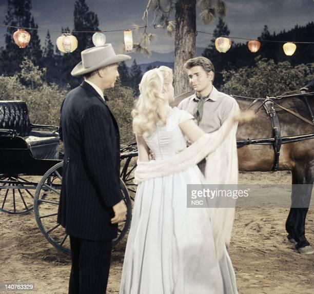 Bonanza Denver McKee Episode 6 Pictured Franchot Tone as Denver McKee Natalie Trundy as Connie McKee and Michael Landon as Joseph 'Little Joe'...