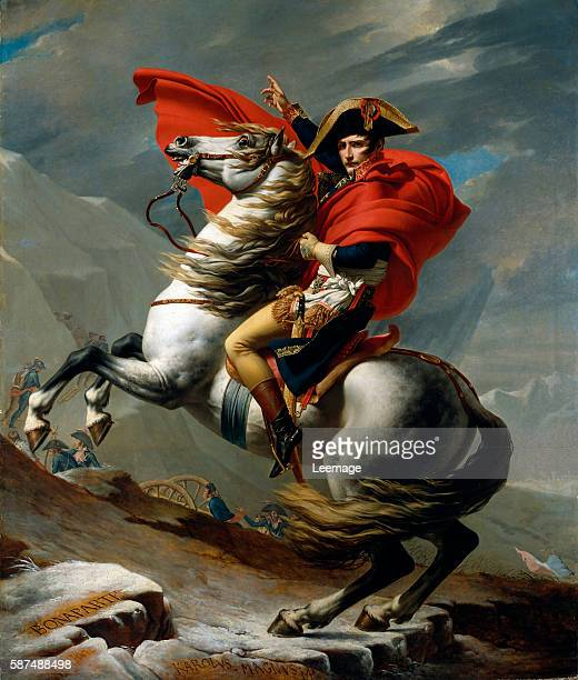 Bonaparte crossing the St Bernard Pass May 1800 Equestrian portrait of Napoleon I Bonaparte Painting by Jacques Louis David oil on canvas 1801...