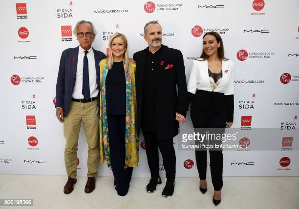 Bonaventura Clotet Cristina Cifuentes Miguel Bose and Monica Naranjo attend the presentation of the Gala Against Aids on July 3 2017 in Madrid Spain