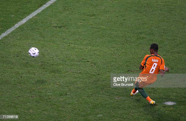 Bonaventure Kalou of Ivory Coast scores a penalty and secures a 32 victory over Serbia Montenegro during the FIFA World Cup Germany 2006 match...