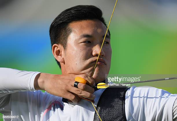 Bonchan Ku of South Korea competes in the Men's Individual Quarterfinal on Day 7 of the Rio 2016 Olympic Games at the Sambodromo on August 12 2016 in...