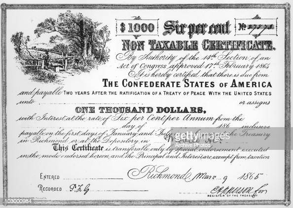 A bond from the Confederate States for one thousand dollars