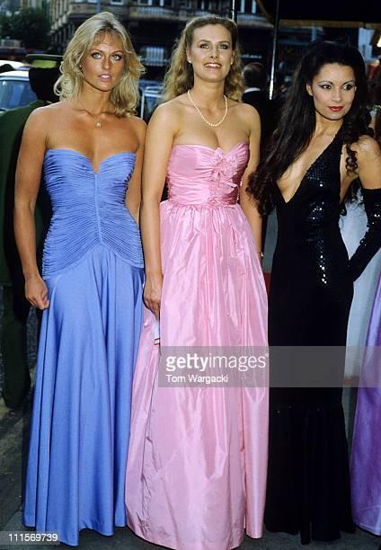 Bond girls Mary Stavin Carolyn Seward and Jackie Jones at premiere of James Bond film Octopussy