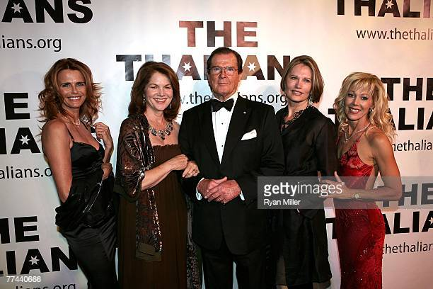 Bond Girls Serena Scott Thomas Lois Chiles Honoree Sir Roger Moore Maud Adams and Lynn Holly Johnson during the Thalians 52nd Anniversary Gala...