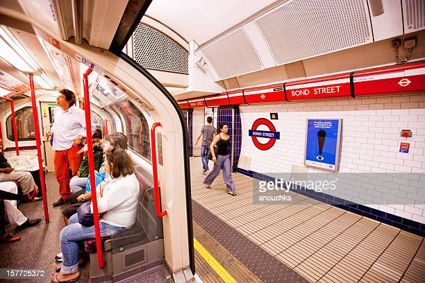 bond street subway station, london - oxford street london stock photos and pictures