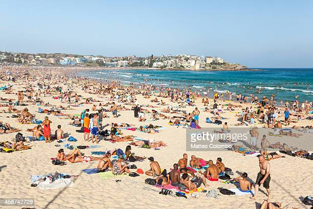 Bondi beach is a famous iconic sandy beach of Sydney, paradise for surfers. In summer is usually crowded by tourists. Sydney, New South Wales,...