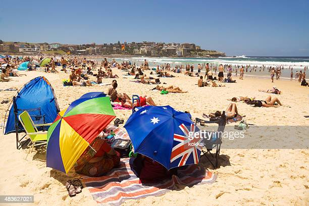 bondi beach - new year's eve - australian flag stock pictures, royalty-free photos & images