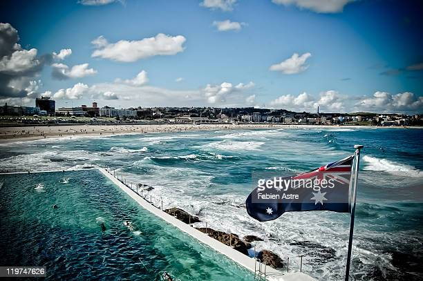 bondi beach - australian flag stock pictures, royalty-free photos & images