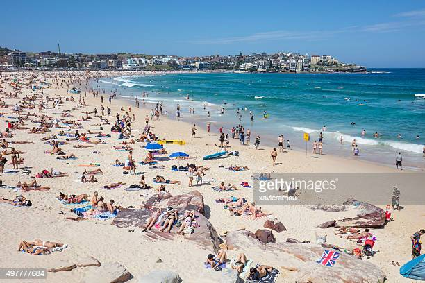 bondi beach - crowded beach stock pictures, royalty-free photos & images