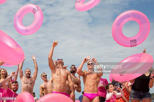 Bondi Blow Ups give Sydney some pink bits for Madi Gras on February 27 2016 in Sydney Australia 1000 large condomlike pink inflatable rings were...