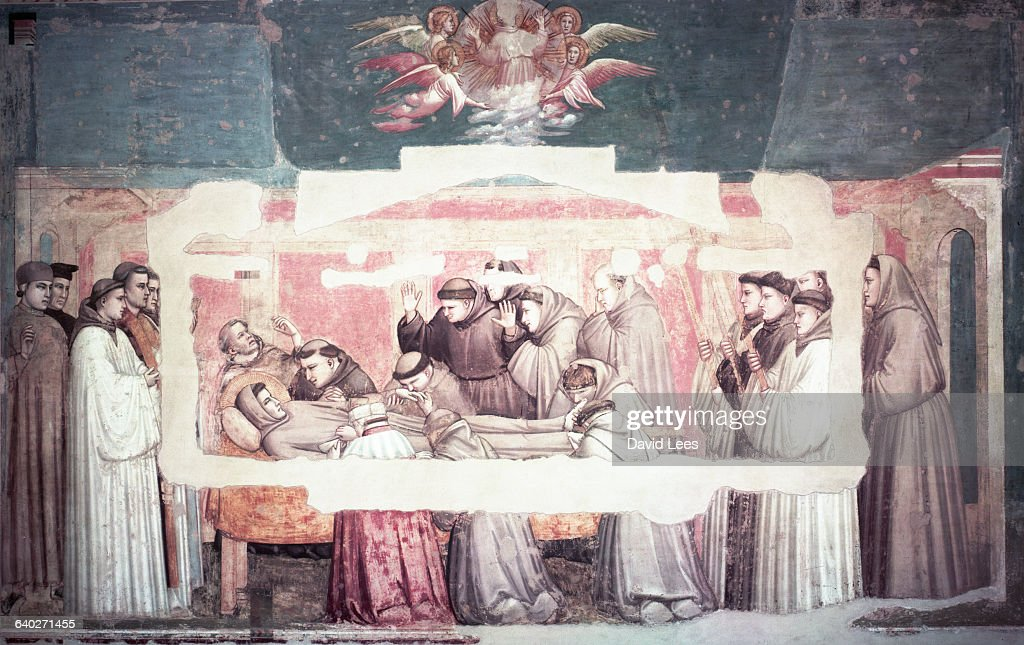 A Bondone di Giotto's (ca. 1267-1337) fresco painting depicting the life of Saint Francis from the Bardi Chapel in Florence. | Location: Bardi Chapel, Florence.