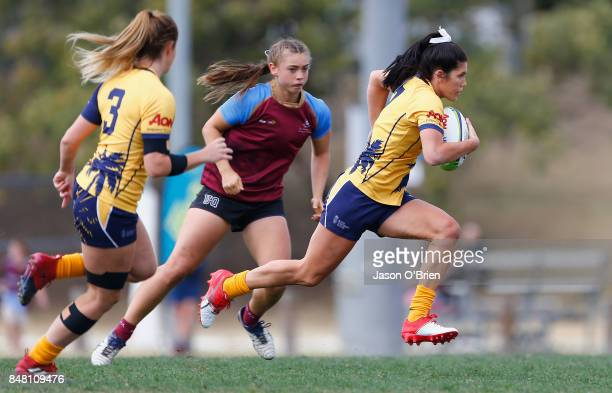 Bond's Charlotte Caslick during the Women's University Sevens match between Bond University and UQ on September 17 2017 in Brisbane Australia