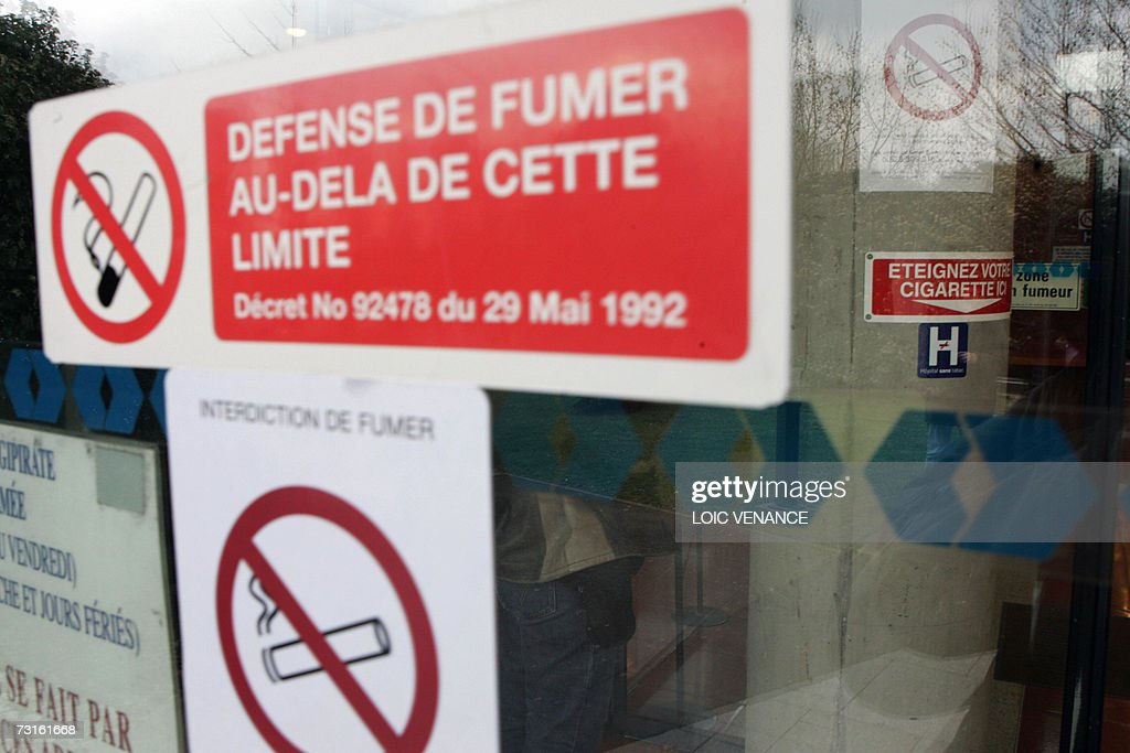 Non smoking signs on glass-windows are pictured at Jean Verdier