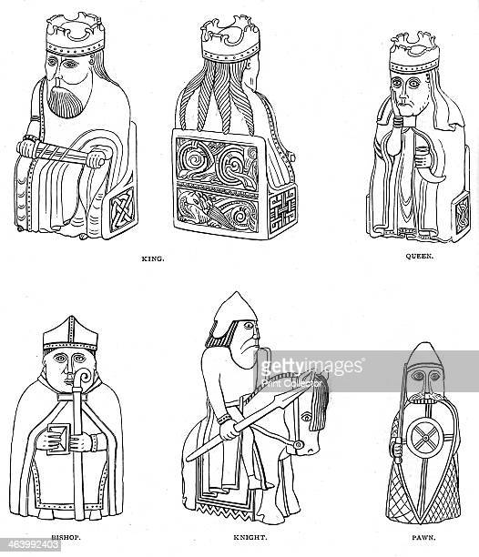 Bone chessmen of Scandinavian design 12th or 13th century Found on the Isle of Lewis now in the British Museum An illustration from A Short History...