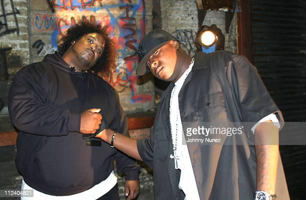 Bone Crusher and Jadakiss during Bone Crusher Remix Video Shoot Featuring Busta Rhymes Camron Juelz Santana and Jadakiss at Broadway Warehouse in New...