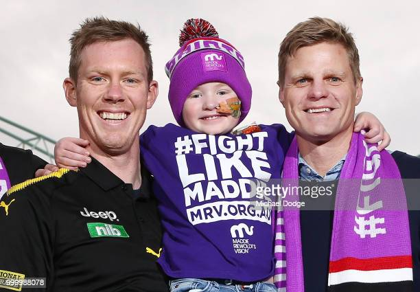 Jack Riewoldt of the Tigers speaks to media during the Maddie's Match AFL Media Opportunity at Etihad Stadium on July 16 2018 in Melbourne Australia