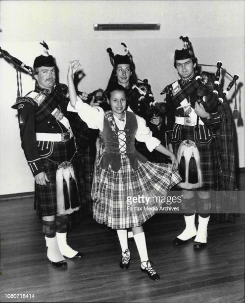 Bone Pipes in their kilts play a tune for a young Highland dancer at uniting church hall EppingL to R Ross Beasley Frances Crown 21 of Gladesville of...