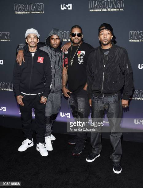 Bone ThugsNHarmony arrive at the premiere of USA Network's 'Unsolved The Murders of Tupac and The Notorious BIG' at Avalon on February 22 2018 in...