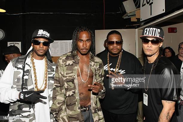 Bone ThugsNHarmony members pose backstage at the BET Hip Hop Awards 2013 at Boisfeuillet Jones Atlanta Civic Center on September 28 2013 in Atlanta...