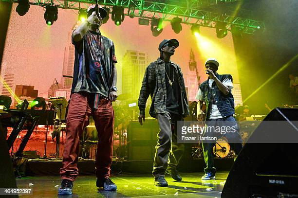 Bone thugsnharmony perform onstage at the Beats Music Launch Party at Belasco Theatre on January 25 2014 in Los Angeles California