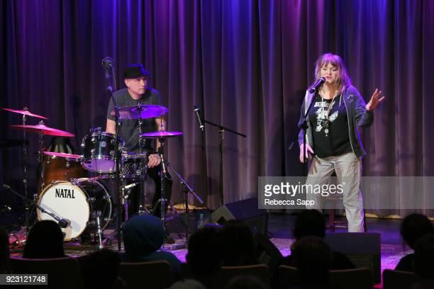 J Bonebrake and Exene Cervenkaa speak onstage at Backstage Pass X's DJ Bonebrake and Exene Cervenkaa at The GRAMMY Museum on February 22 2018 in Los...