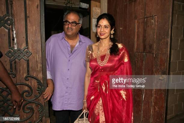 Boney Kapoor and Sridevi during Karva Chauth celebrations in Mumbai