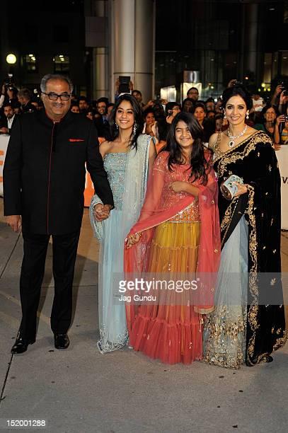 Boney Kapoor Jhanvi Kapoor Khushi Kapoor and actress Sridevi Kapoor attend the English Vinglish premiere during the 2012 Toronto International Film...