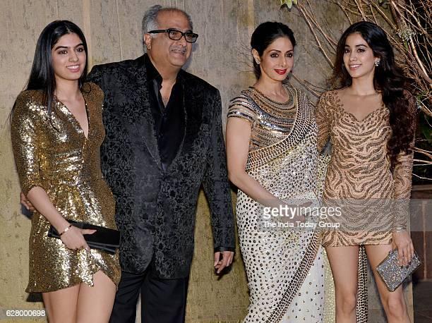 Boney Kapoor Sridevi with daughters Jhanvi and Khushi Kapoor during the birthday celebrations of fashion designer Manish Malhotra in Mumbai