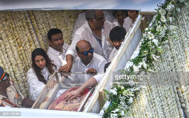 Boney Kapoor with daughters Jhanvi and Khushi during funeral of the late Bollywood actress Sridevi Kapoor passes through at Vile Parle on February 28...