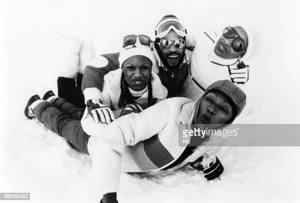 Boney M playing in the snow Left to right are Marcia Barrett Bobby Farrell Maizie Williams and Liz Mitchell circa 1980