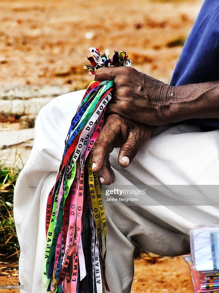 Bonfim da Bahia bracelets : Bildbanksbilder