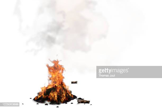 bonfire against white background - warming up stock pictures, royalty-free photos & images