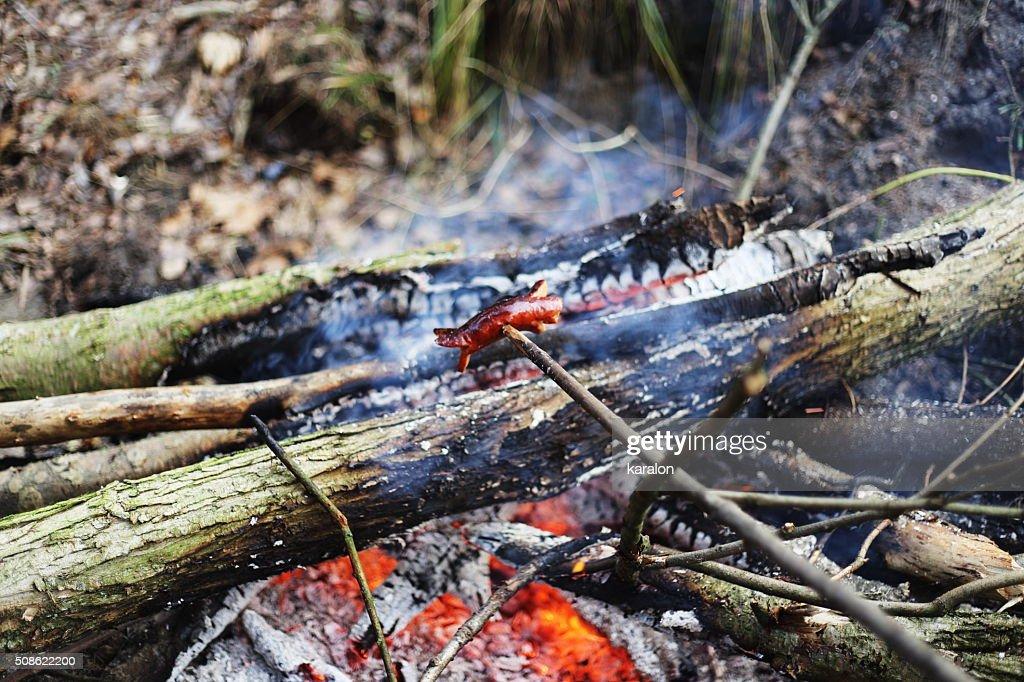 bonfire and sausag : Stock Photo