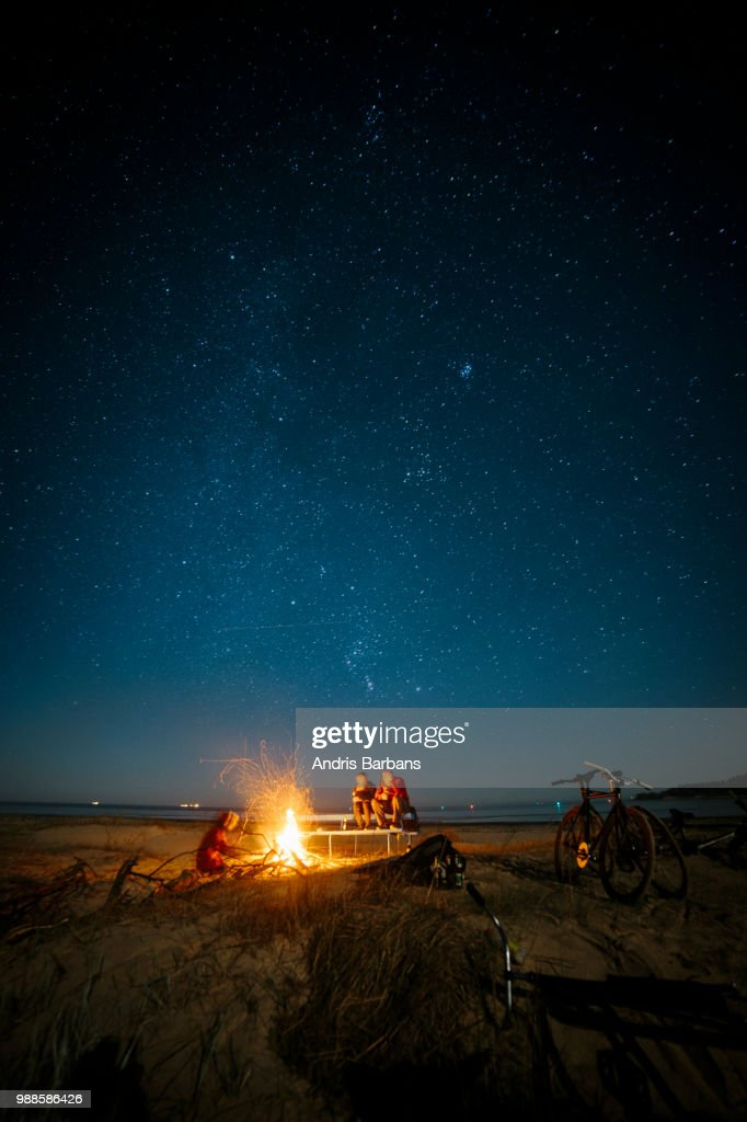 A bonfire at a beach in Latvia. : Stock Photo
