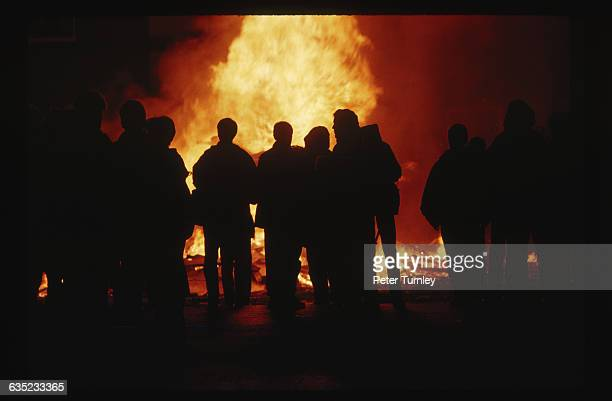 A bonfire burns in Bogside protesting the 20th anniversary of British troops in Northern Ireland