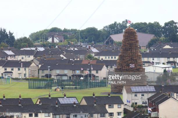 A bonfire made of pallets one of the largest in Northern Ireland is seen at Craigy Hill Larne Northern Ireland on July 9 2019 ahead of the...