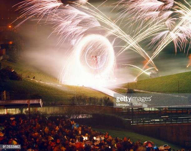 Bonfire Night with 45ft Catherine Wheel at the Pyramid playing fields Bury Greater Manchester 5th November 1991