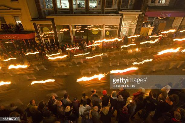 Bonfire societies parade through the streets of Lewes in Sussex on November 5 during the traditional Bonfire Night celebrations Bonfire Night is...