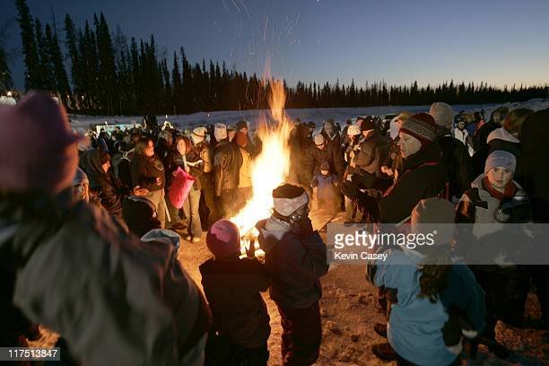 Bonfires burn after the welcoming event for the opening of ICE AGE THE MELTDOWN Park in Fairbanks Alaska on March 12 2006 ICE AGETHE MELTDOWN...