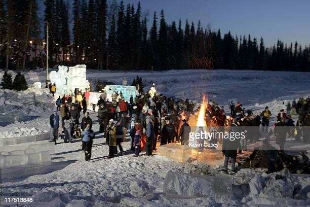 Bonfires burn after the welcoming event for the opening of ICE AGE THE MELTDOWN Park in Fairbanks Alaska on March 12 2006 Leguizamo is starring in...