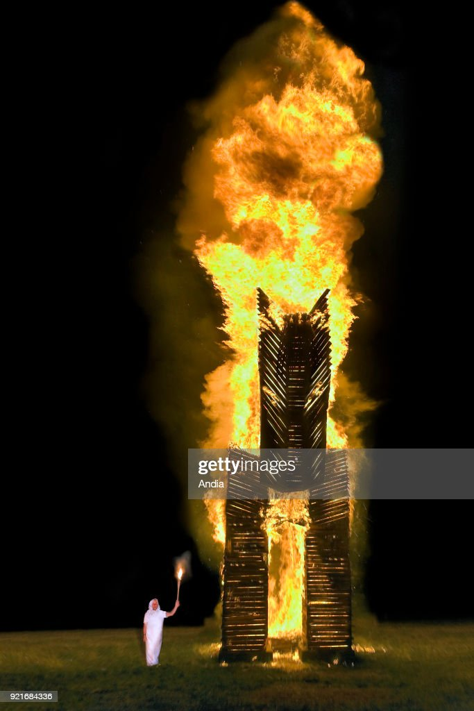 Bonfires lit to celebrate the summer solstice in the shape of a horse. : News Photo