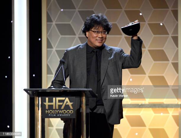 Bong Joon Ho accepts the Hollywood Filmmaker Award onstage during the 23rd Annual Hollywood Film Awards at The Beverly Hilton Hotel on November 03...